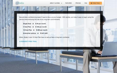 Screenshot of Pricing Page alonba.com - How much does it cost?   Alonba Business Communications - captured Sept. 30, 2014