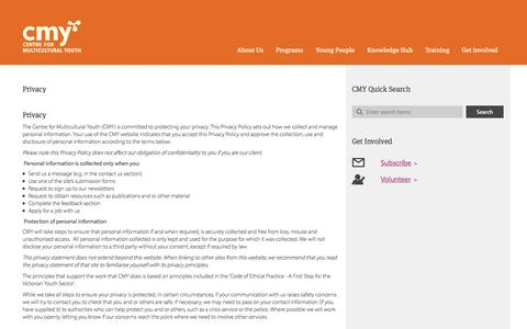 Screenshot of Privacy Page cmy.net.au - Privacy | Centre For Multicultural Youth - captured Oct. 2, 2014