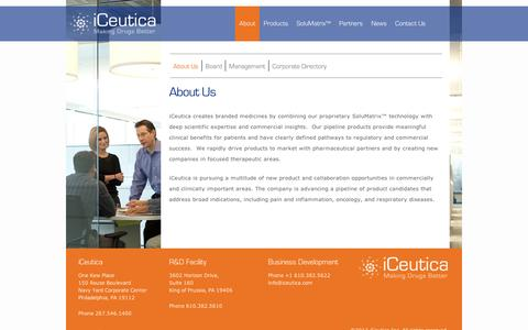 Screenshot of About Page iceutica.com - About Us | iCeutica - captured Sept. 11, 2014