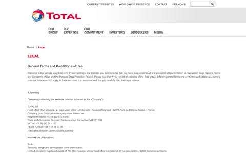 Screenshot of Terms Page total.com - Legal | total.com - captured Nov. 21, 2017