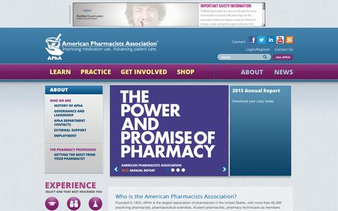 Screenshot of About Page pharmacist.com - | American Pharmacists Association - captured Nov. 2, 2014