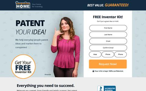 Screenshot of Landing Page inventionhome.com - Patent Your Idea | InventionHome - captured Sept. 28, 2016