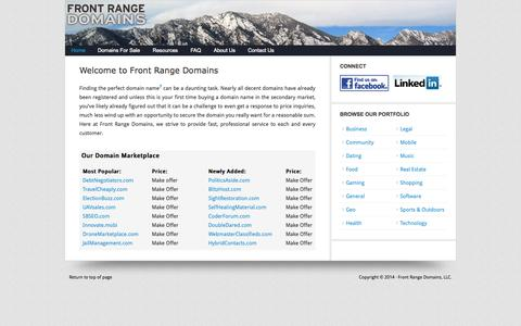 Screenshot of Home Page frontrangedomains.com - Domains For Sale by Front Range Domains, LLC - captured Oct. 6, 2014