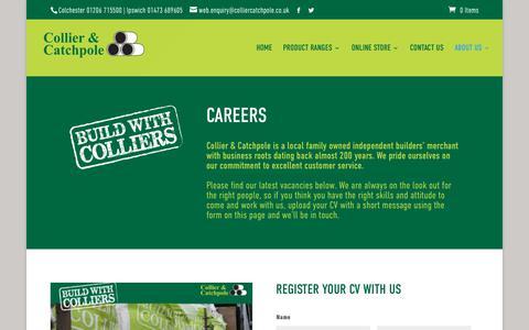 Screenshot of Jobs Page colliercatchpole.co.uk - Careers   Collier & Catchpole Builders Merchants - captured Sept. 28, 2018