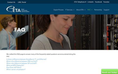 Screenshot of FAQ Page expertta.com - FAQ - Expert Technology Associates - captured Sept. 30, 2018