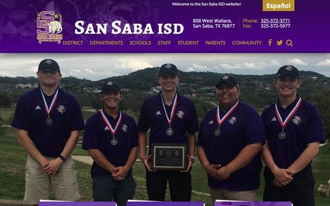 Screenshot of Home Page san-saba.net - San Saba Independent School District - captured July 1, 2018