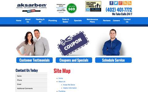 Screenshot of Site Map Page aksarbenars.com - Site Map | Aksarben Heating, Air Conditioning & Plumbing - captured Nov. 21, 2016