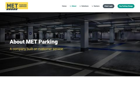 Screenshot of About Page metparking.com - About | National Provider of Parking Services | MET Parking - captured Nov. 11, 2018