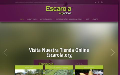 Screenshot of Home Page escarola.co - Escarola Alimentos Orgánicos en Bogotá ‹ Escarola.co Alimentos Orgánicos en Bogotá, Colombia Productos Orgánicos y Agricultura Sostenible. - captured Oct. 2, 2014