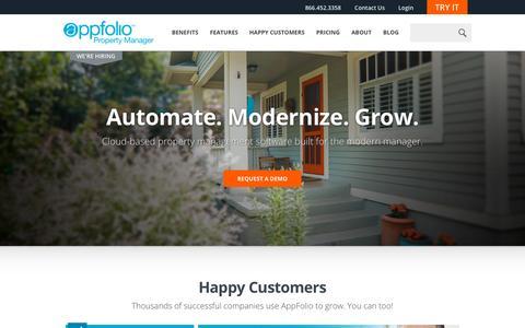 Screenshot of Home Page appfolio.com - Property Management Software | AppFolio.com - captured Sept. 18, 2015