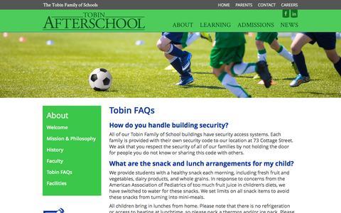 Screenshot of FAQ Page tobinafterschool.org - Tobin FAQs - Tobin Afterschool - captured Aug. 16, 2016
