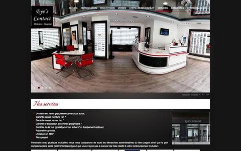 Screenshot of Services Page eyescontact.fr - EYE'S CONTACT, opticiens Paris, 75004 Paris, services - captured Sept. 30, 2014