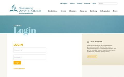 Screenshot of Login Page adventist.org - Login: The Official Site of the Seventh-day Adventist Inter-European Division - captured June 24, 2016