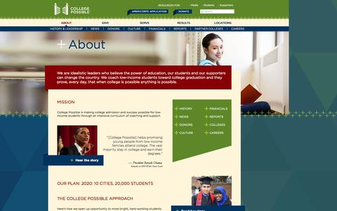 Screenshot of About Page collegepossible.org - About | College Possible - captured Sept. 30, 2014