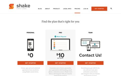 Screenshot of Pricing Page shakelaw.com - Pricing - Shake | Free Legal Contracts - captured April 30, 2016