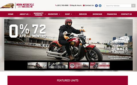 Screenshot of Home Page indiantwincities.com - Home Indian Motorcycle of the Twin Cities St Paul, MN (651) 765-9988 - captured Oct. 15, 2017