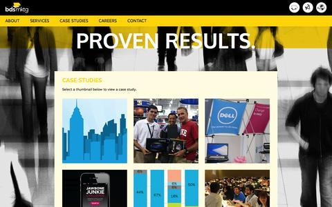 Screenshot of Case Studies Page bdsmktg.com - Case Studies   BDSmktg - captured Nov. 2, 2014