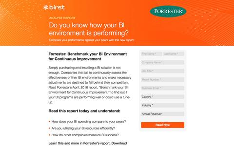 Screenshot of Landing Page birst.com - Birst | Do you know how your BI environment is performing? - captured Sept. 2, 2016