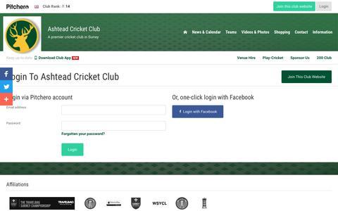 Screenshot of Login Page pitchero.com - Ashtead Cricket Club - captured Jan. 27, 2018