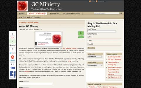 Screenshot of About Page gcministry.com - About GC Ministry GC Ministry - captured Sept. 26, 2014