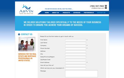 Screenshot of Contact Page abvinbpo.com - AbVin a Broker Price Opinion and Real Estate Data Entry service Provider - captured Oct. 4, 2014
