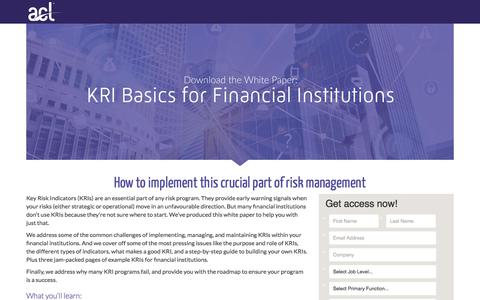 Screenshot of Landing Page acl.com - Download KRI Basics for Financial Institutions - captured April 20, 2018