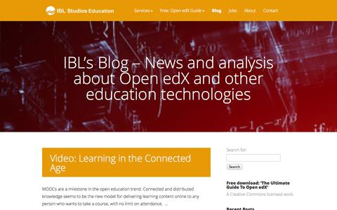 Screenshot of Blog iblstudios.com - IBL's Blog – News and analysis about Open edX and other education technologies | IBL Studios - edX platforms and ecosystems; technical support and video for courses - captured Oct. 3, 2014