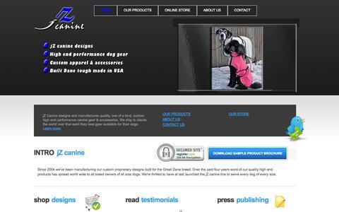 Screenshot of Home Page jzcanine.com - jZ Canine | High Performance Dog Gear | High Quality Custom Dog Wear and Accessories - captured Sept. 30, 2014