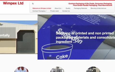 Screenshot of Home Page wimpex.co.nz - Wimpex Limited - Contract blending and consumer packaging of dry foods - captured Oct. 8, 2014