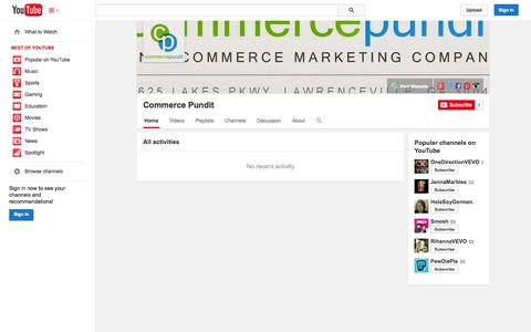 Screenshot of YouTube Page youtube.com - Commerce Pundit  - YouTube - captured Oct. 25, 2014