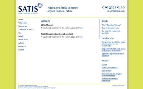Screenshot of Jobs Page satisuk.com - SATIS ASSET MANAGEMENT » Careers - captured Feb. 13, 2016