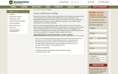 Screenshot of Jobs Page rasmussen.edu - Careers - captured Sept. 22, 2018