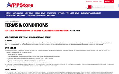 Screenshot of Terms Page vppstore.com - Terms & Conditions - captured Jan. 11, 2016