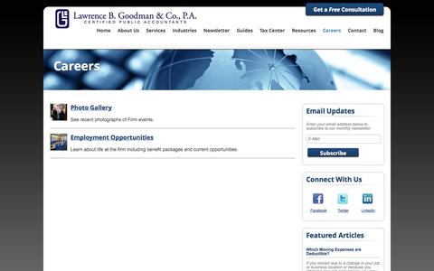 Screenshot of Jobs Page lbgcpas.com - Fair Lawn, New Jersey Accounting Firm | Careers Page | Lawrence B. Goodman & Company - captured Oct. 2, 2014
