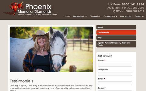Screenshot of Testimonials Page phoenix-memorial-diamonds.com - Testimonials - Phoenix Memorial Diamonds - captured July 18, 2018
