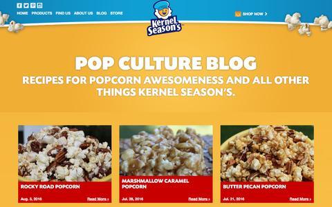 Screenshot of Blog kernelseasons.com - Kernel Season's Popcorn Seasoning Blog - Recipes & More - captured Aug. 9, 2016