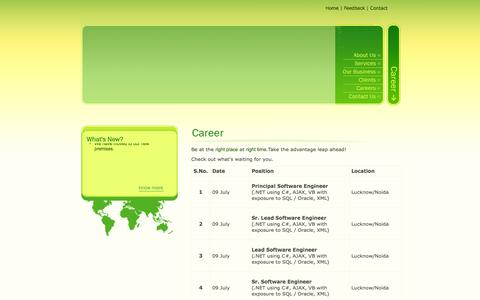 Screenshot of Jobs Page zenevo.com - ::.Welcome to Zenevo Technologies (P) Services Ltd. .:: - captured Oct. 27, 2014