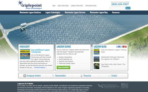 Screenshot of Home Page triplepointwater.com - Triplepoint Water Technologies | The Wastewater Lagoon Experts - captured Feb. 25, 2016