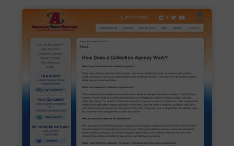 Screenshot of FAQ Page americanprofit.net - How collection agencies operate|American Profit Recovery  | American Profit Recovery - captured Feb. 6, 2016