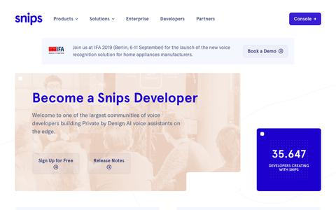 Screenshot of Developers Page snips.ai - Snips | Developers - captured Sept. 9, 2019