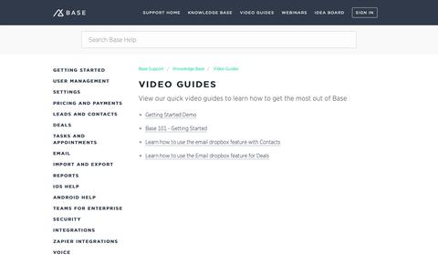 Screenshot of Support Page getbase.com - Video Guides – Base Support - captured Oct. 9, 2018