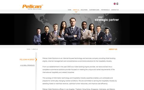 Screenshot of About Page pelicansolution.com - Pelican provides hotel booking engine with channel management - captured Oct. 2, 2014