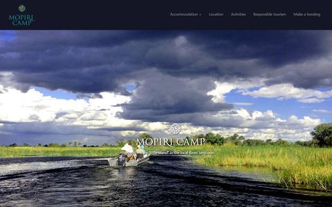Screenshot of Home Page mopiricamp.com - Mopiri Camp | Okavango Panhandle, Botswana | Lodge & fly camps | Fishing, bird watching, walking, boating, mekoroing and more - captured March 7, 2016