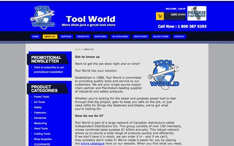 Screenshot of About Page toolworld.net - ABOUT US - Tool World Inc - captured Oct. 7, 2014