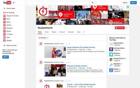 Screenshot of YouTube Page youtube.com - ReadyArtwork  - YouTube - captured Nov. 4, 2014