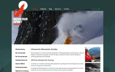 Screenshot of Home Page mountain-spirit-guides.com - Chamonix Mountain & Ski Guides - Mountain Spirit Guides - captured Jan. 12, 2016
