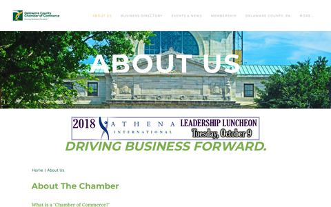 Screenshot of About Page delcochamber.org - About Us | Org Name | Address - Delaware County Chamber of Commerce - captured Oct. 8, 2018