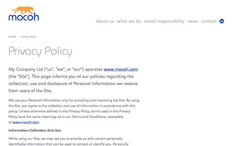 Screenshot of Privacy Page mocoh.com - Mocoh - Privacy Policy - captured Oct. 26, 2014