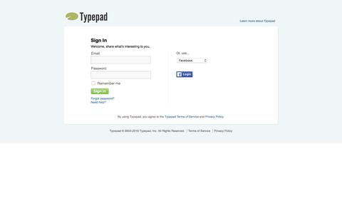 Screenshot of Login Page typepad.com - Typepad - Sign in to your account - captured June 13, 2016
