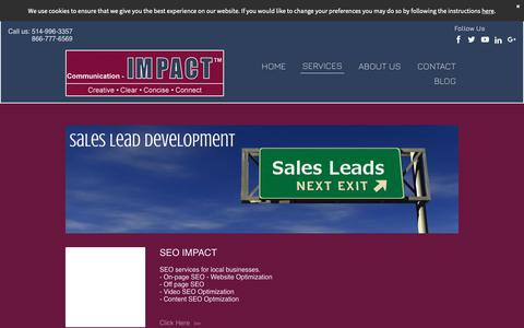 Screenshot of Services Page communication-impact.ca - Montreal SEO Online Marketing Services - Lead Development - SEM - captured Oct. 18, 2018